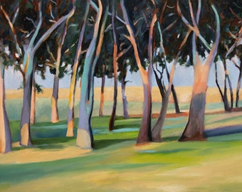 Print of Oaks and Lawn California Landscape from original oil painting on canvas 8x10 archival art print