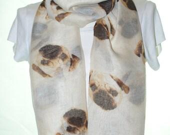 Beige pug dog print scarf, Beach Wrap, Cowl Scarf, pug print scarf, cotton scarf, gifts for her