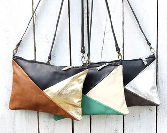 Leather Clutch bag with contemporary geometric design