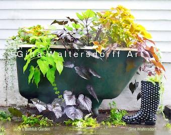 Garden Bath Tub, sweet potato vine, colorful leaves, whimsical, bathroom art, bathroom wall decor, fine art photography, Gina Waltersdorff