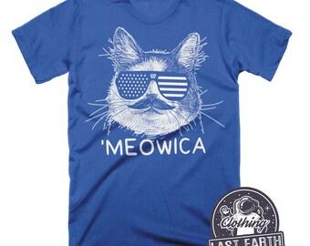 Meowica Shirt 4th of July Shirt Funny Cat Shirt American Flag Shirt Funny Tshirts Meow Shirt Cat Lover Gift Patriotic Shirt Merica Shirt