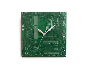 Green Circuit Board Clock, Motherboard Clock, Unique Wall  Clock, Large Wall Clock, Boyfriend Gift, Husband Gift, Father Gift, Geek Gift