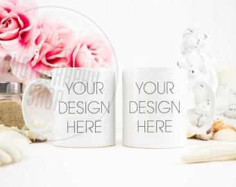 Mug Styled Stock Photography / Staged Photography / Background / Stock Photo / Double Mug / Two Mugs / Nautical Beach Pink Flowers / DM003