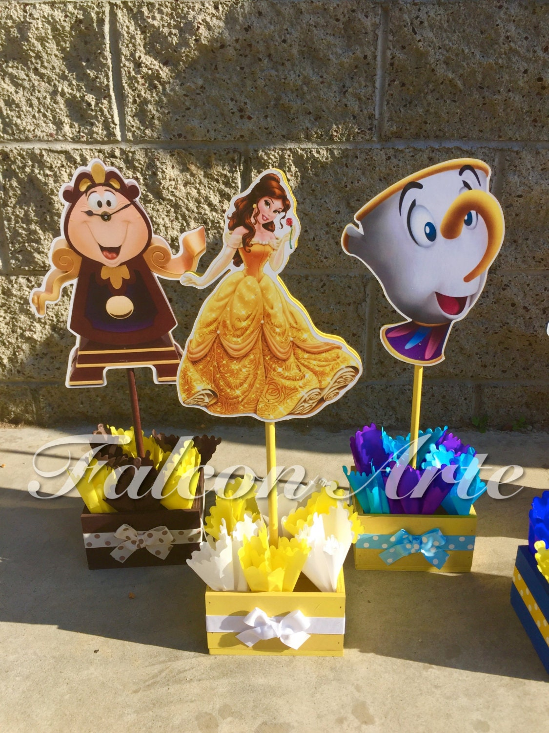 Beauty and the beast birthday centerpiece chip mrs potts