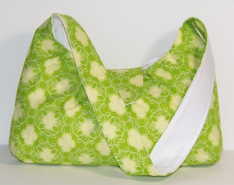 Shoulder Tote Lime Green and White Crest Purse