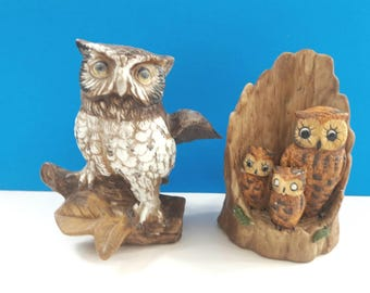 Set Of Two Vintage Ceramic Owl Figurines, Owl Decor, Woodland Creatures, Retro Owl Sculptures, Vintage Owl Decor, Birds Of Prey.