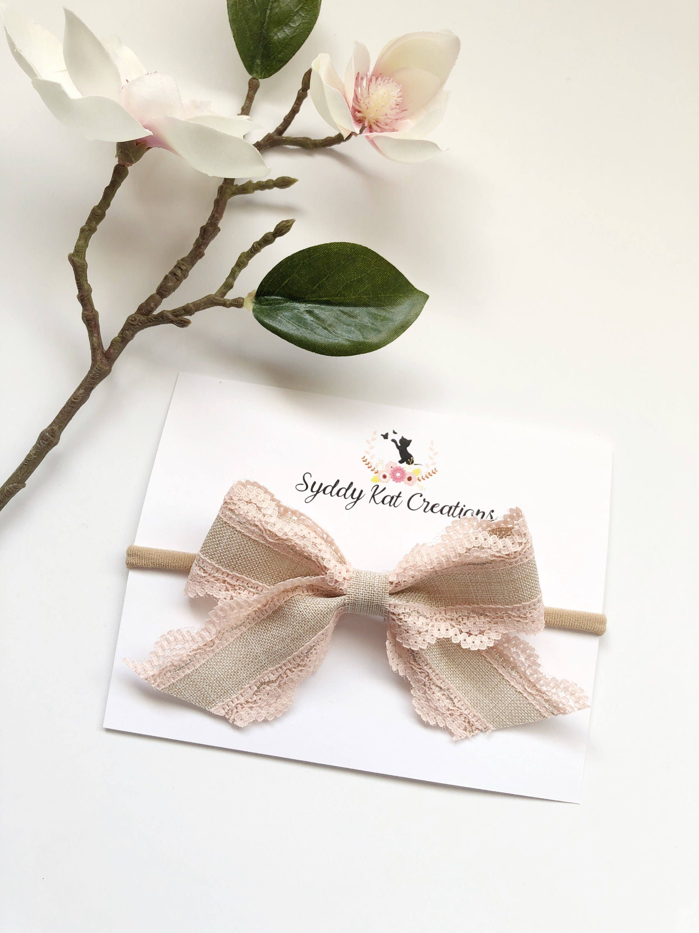 Bow Ribbon Bow Burlap Bow Lace Bow Rustic Bow Baby Bow