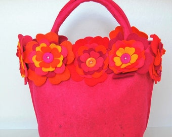Pink Felt Handmade Handbag with Extravaganza of Pink, Red, Orange and Yellow Felt Flowers