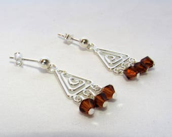 Crystal Earrings, Swarovski Crystal, Silver and Brown, Rootbeer Color, Sterling Silver, Contemporary Jewelry, Clutch and Post, Lightweight