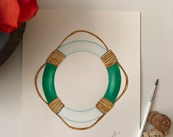 """Green lifesaver. An original watercolor painting on 90 lb. cold press paper. Size 9""""x 12"""" signed on front."""