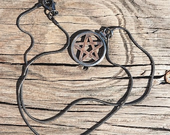 Pentagram Penny Pendant // antiqued copper penny and sterling silver pendant on gunmetal snake chain // from Mod Evil