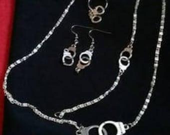 Set necklace bracelet ring earrings silver cuffs
