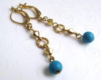 Turquoise Earrings, Robin Egg Blue Turquoise and Gold Dangle Earrings, Dainty Earrings, Minimalist Jewelry