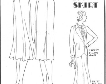 PP603 - Past Patterns #603, 1930s New Style Skirts Sewing Pattern