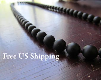 Black Matte Onyx Necklace for Men, 8mm Beaded Necklace, Men's Necklace, Matte Black Onyx, Long Necklace, Gift for Men, Layering Necklace