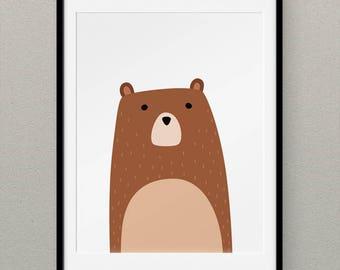 Woodland Nursery Art, Bear Print, Bear Wall Art, Bear Art Print, Nursery Decor, Woodlands Nursery, Woodlands Animal, Bear Printables - Bear