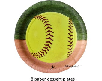 softball plates, fastpitch dessert plates, girls sports, teen girl birthday party decorations, sports team banquet, all stars, athletic