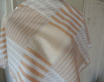 Vintage Echo scarf cotton neutral colors geometric slightly sheer 26 x 28 inches