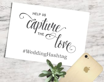 Printable Capture the Love Signage, Wedding Hashtag Sign, Wedding Instagram Sign - INSTANT DOWNLOAD