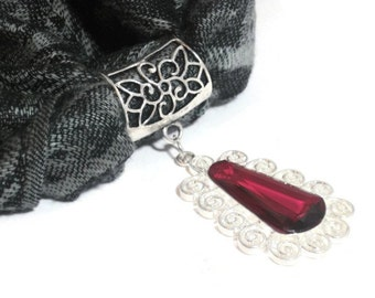 Statement Scarf Pendant - Scarf Jewelry -Scarf Necklace - Red Scarf Charm - Gift Under 20