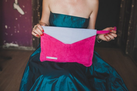 Lavander and fucsia leather clutch, Everyday clutch, evening clutch, iPad Clutch
