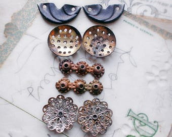 SALE Rustic Altered Finding Mix - 8 Components for Earring Assemblage - 4 Pairs - Button, Filigree, Discs, Brass Bars - Assemblage Jewelry