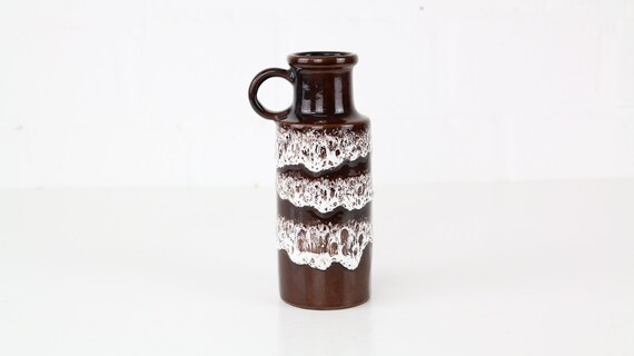 Scheurich Ceramic vase 401-20 earthenware brown midcentury German pottery urban gardening jungalow style decor bohemian interior