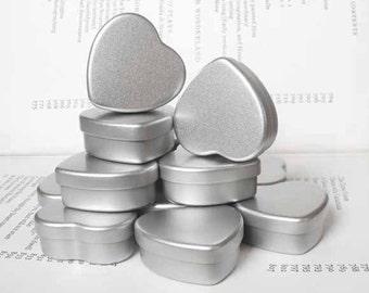 Mini Heart Tin, Jewelry Box, Candle Tin, Lip Balm Tin, Blank (Set Of 50) Silver Color