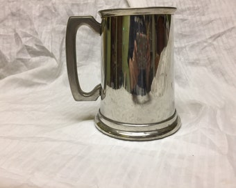 pewter Tankard with glass bottom made in Sheffield England