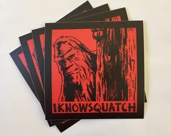 Bigfoot sticker Sasquatch Sticker -- I know Squatch -- Sasquatch Vinyl Decal -- Bigfoot Sticker -- Bigfoot Decal -- Yeti Decal