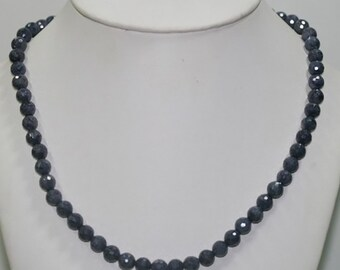 "19"" St Sapphire Faceted Round Necklace 7mm.-Long 48cm"