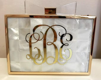 Monogram Pearl Acrylic Bow Clutch with Gold Trim
