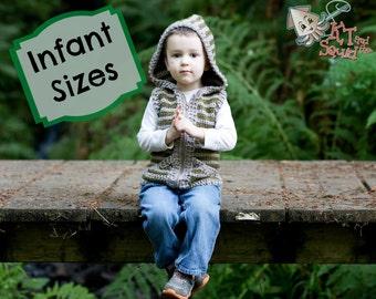 Crochet pattern infants, crochet vest, boys vest, girls vest, hooded vest for babies, crochet, easy pattern, zipper or button