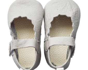 Genuine Leather Baby Moccasins   Classic Strap {Gray}