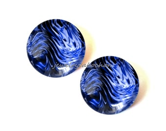 Glass cabochons, x2, waves, blue, 18mm, handmade