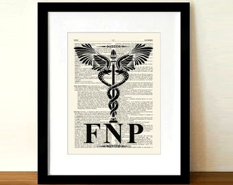 "Vintage Family Nurse Practitioner (FNP) - Caduceus,8.5"" x 11"",Medical Art Decor, Nurse Practitioner graduation gift, FNP certification print"