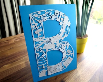 The Letter B. Papercut by hand. New baby gift.