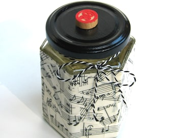 Whimsical Music Glass Jar