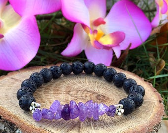 Essential Oil Diffuser Bracelet, Lava Rock Bracelet, Diffuser Bracelet, Amethyst Bracelet, Calming Bracelet, Yoga Jewelry, Valentines Gift