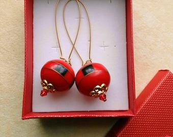 Red Apple Boho Vintage Earrings, Indian Bead Fruit Jewelry, Indian Bead Designer Apple Earrings - Gipsy Princess by enchantedbeads on Etsy