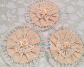 Muslin and Lace Rosette, Package Topper, Vintage Style, Decoration, Home Decor, Hat Flower, Brooch Flower, Fabric Journal Embellishment, Set