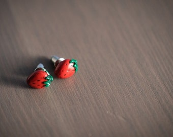 Sweet Strawberries - Polymer Clay Studs