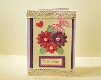 Handmade floral card, Birthday card