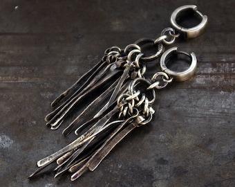 long stick raw sterling silver earrings • long bar earrings • statement earrings • huggie hoops • statement jewelry