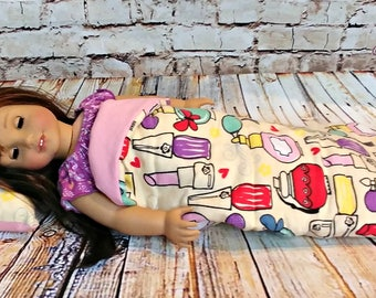 """Doll Sleeping Bag Makeup Beauty Print -- American Made to Fit Your 18"""" Girl Doll"""