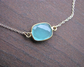 Tiny Light Teal Pendant, Natural Aqua Chalcedony, Gold-filled Chain, Bridesmaid Jewelry, Gifts for Her