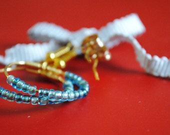 Vintage Blue Glass Bead Earrings