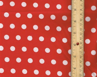 Red Polka Dot Fabric, Red Cotton Fabric, Fall Fabric, Christmas Fabric, Fabric by the Yard, sewing fabric