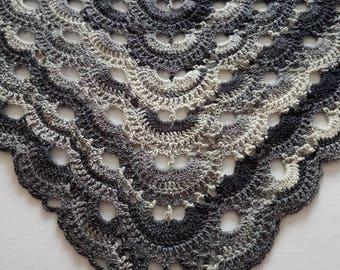 Crochet shawl, grey shawl, lace shawl, crochet wrap, crochet stole, spring wrap, virus shawl, gift for mum, christmas gift, grey wrap
