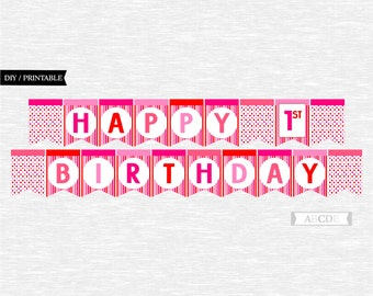 Instant Download Red and Pink Girl Polka dots Happy 1st Birthday Banner DIY Printable (PDMD001)
